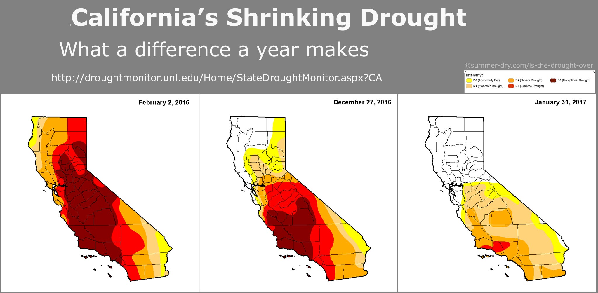 California drought map January 31 2016 - Feb 2 2017;